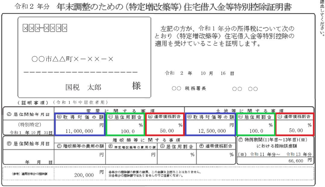 令和2年分年末調整のための(特定増改築等)住宅借入金等特別控除証明書