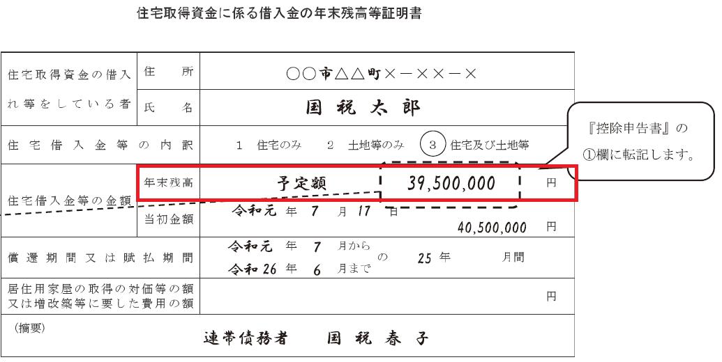 令和2年分住宅取得資金に係る借入金の年末残高等証明書