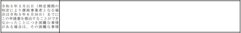 登録申請書「令和5年3月31日(特定期間の判定により課税事業者となる場合は令和5年6月30日)までにこの申請書を提出することができなかったことにつき困難な事情がある場合は、その困難な事情」欄