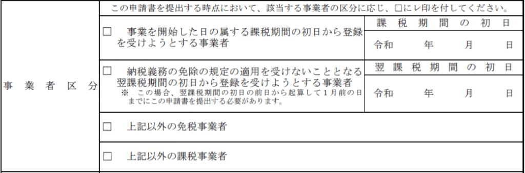 登録申請書「事業者区分」欄