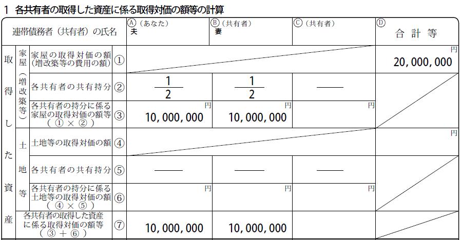 連帯債務の付表「各共有者の持分を計算する箇所」のブロック